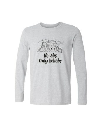 no abs only kebabs full sleeve melange white t-shirt by adimanav.com for men and women