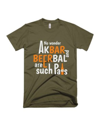 Akbar beerbal army green half sleeve graphic t-shirt for Men and Women by adimanav.com