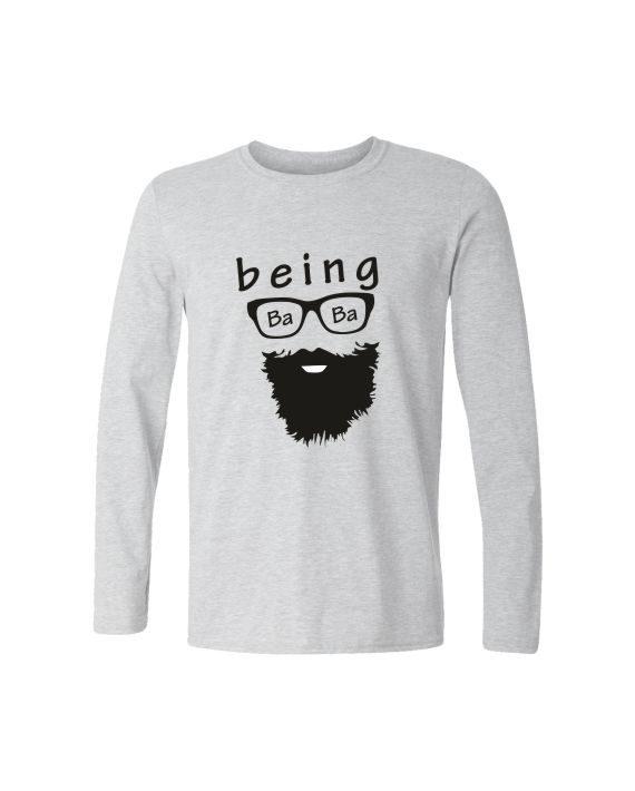being baba full sleeve melange white t-shirt by adimanav.com for men and women