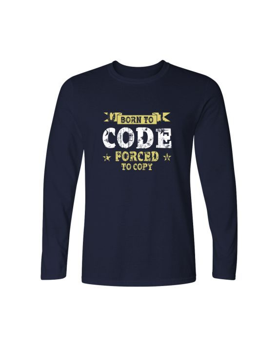 born to code forced to copy full sleeve navy blue t-shirt by adimanav.com for men and women