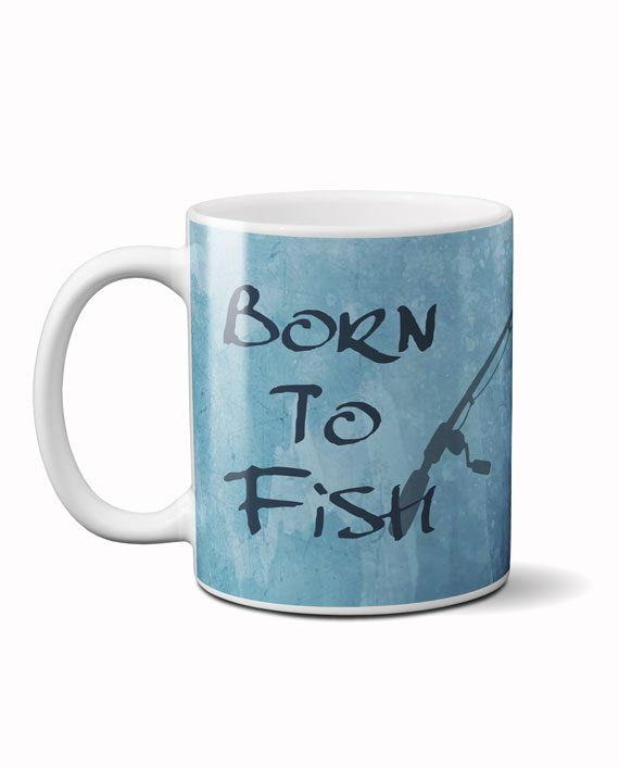 Born to fish forced to work coffee mug by adimanav.com
