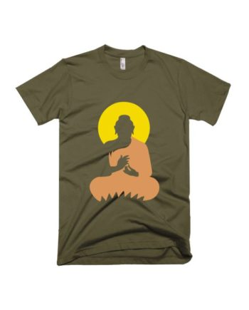 Buddha army green half sleeve graphic t-shirt for Men and Women by adimanav.com