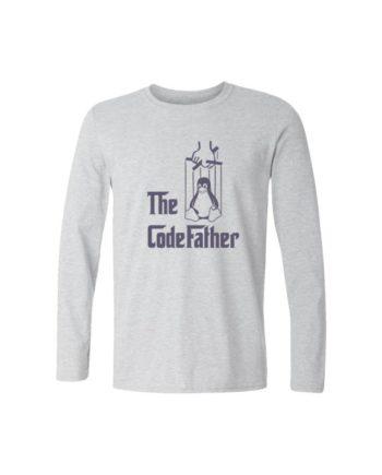 codefather full sleeve melange white t-shirt by adimanav.com for men and women