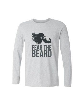fear the beard full sleeve melange white t-shirt by adimanav.com for men and women