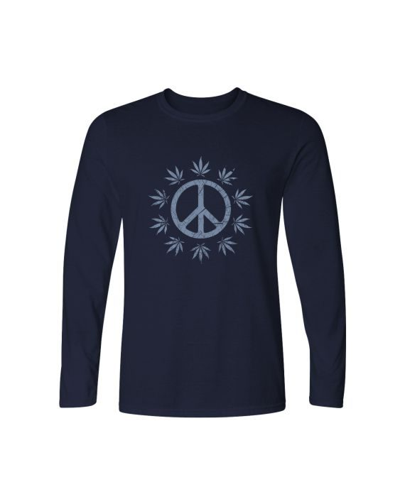 find peace weed full sleeve navy blue t-shirt by adimanav.com for men and women