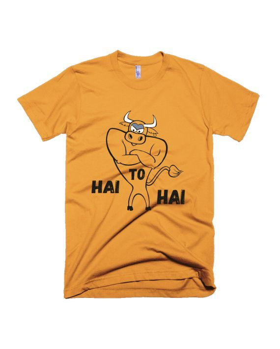 Hai to hai Yellow Half Sleeve Graphic T-Shirt by adimanav.com for Men and Women