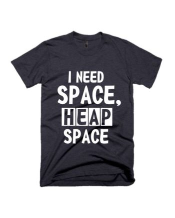 I need heap space coal grey half sleeve graphic t-shirt by adimanav.com for Men and Women