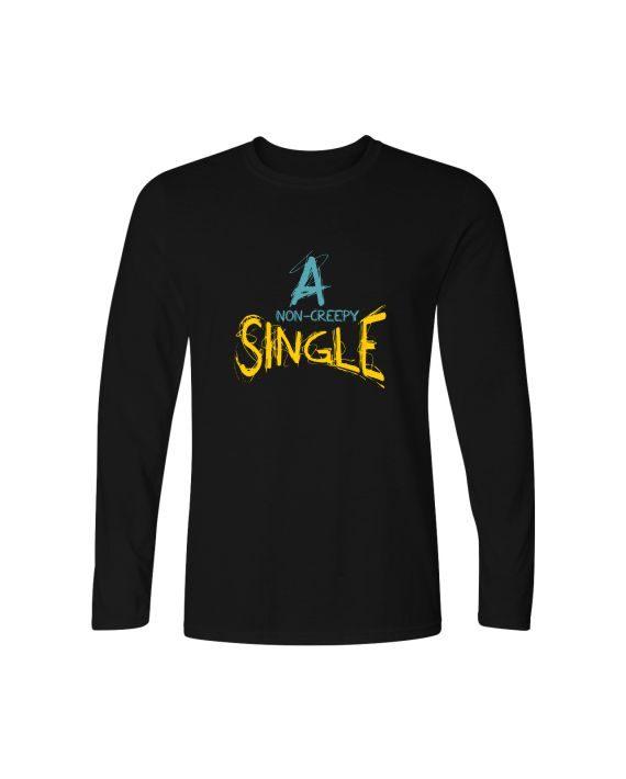 non creepy single full sleeve black t-shirt by adimanav.com for men and women