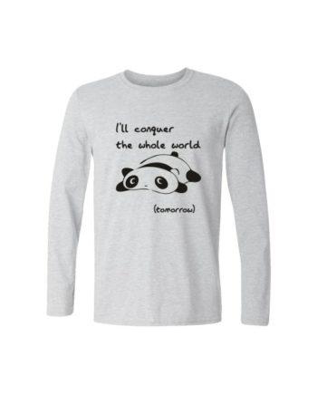 lazy panda full sleeve white melange t-shirt by adimanav.com for men and women