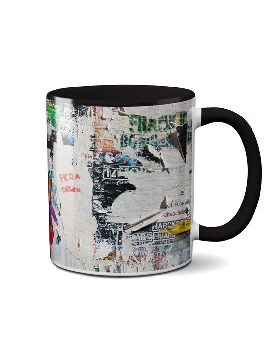 torn pattern black coffee mug by adimanav.com
