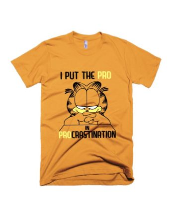 Procrastination yellow garfield half sleeve graphic t-shirt for Men and Women by adimanav.com