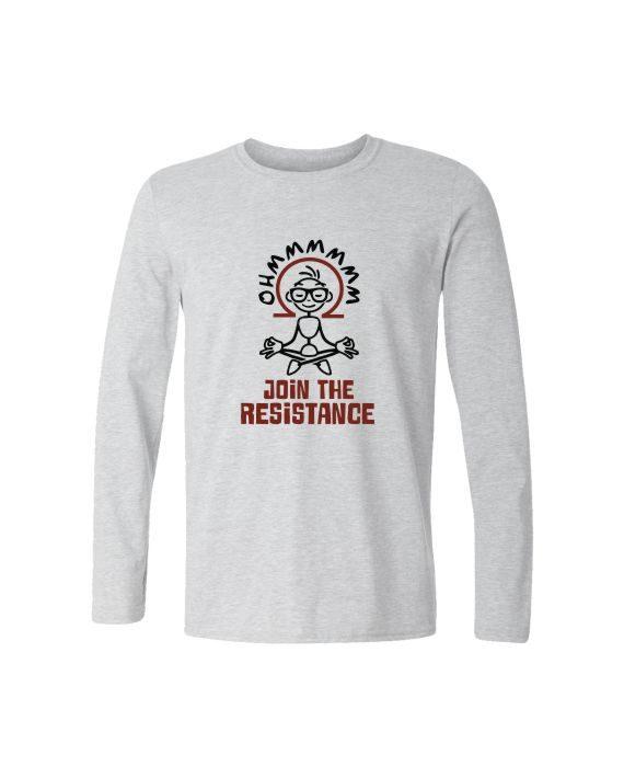 ohm join the resistance full sleeve melange white t-shirt by adimanav.com for men and women