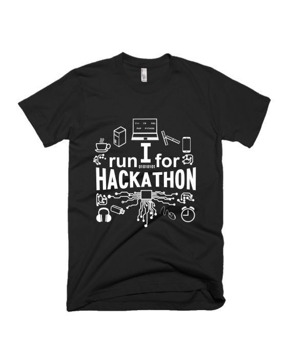 I run for hackathon black half sleeve graphic t-shirt for Men and Women by adimanav.com