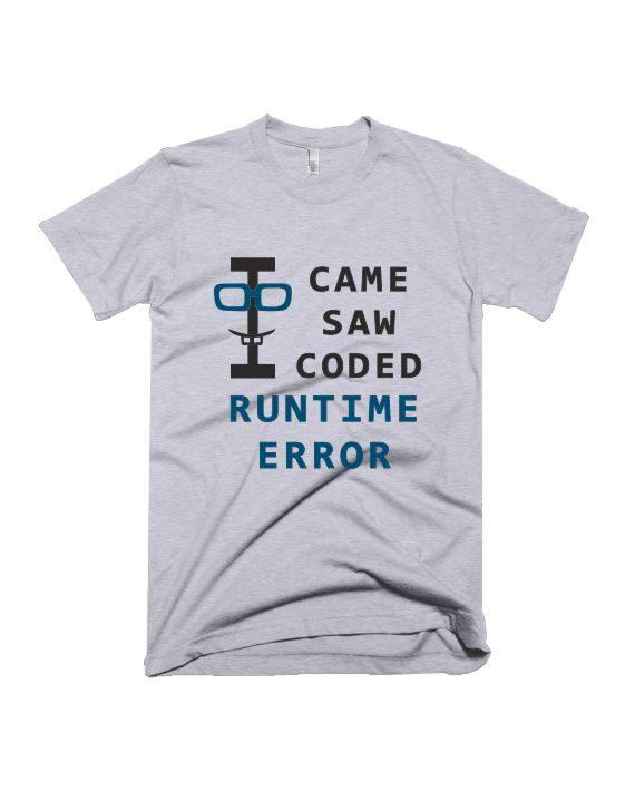 Runtime error grey melange geek half sleeve graphic t-shirt for Men and Women by adimanav.com
