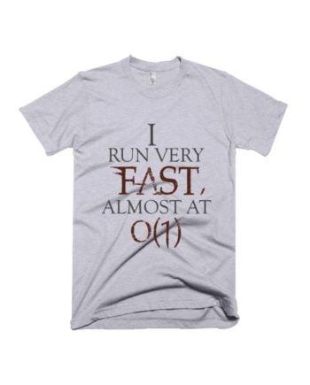 I run very fast grey melange geek half sleeve graphic t-shirt for Men and Women by adimanav.com