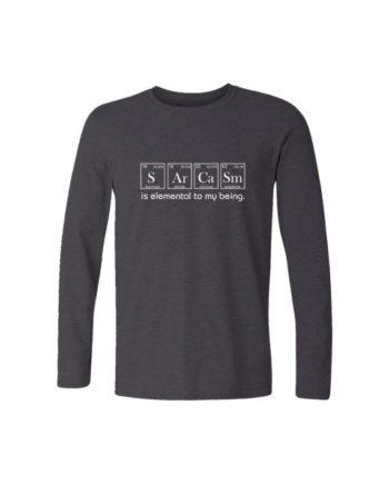 sarcasm chemistry full sleeve charcoal melange t-shirt by adimanav.com for men and women