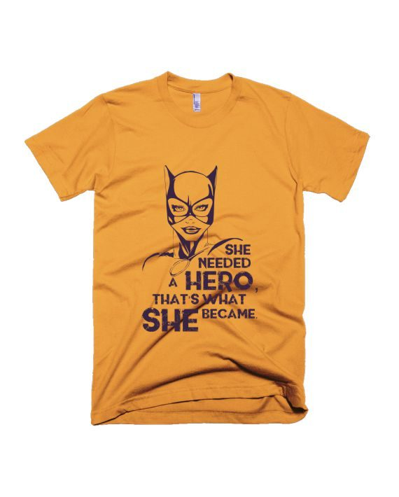 She needed hero yellow half sleeve graphic t-shirt for Men and Women by adimanav.com