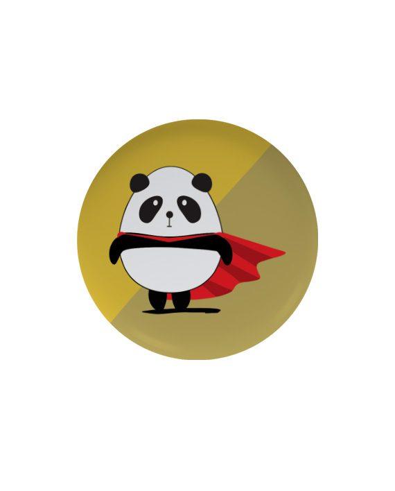 Supper Panda pin plus magnet badge