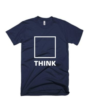 Think out of the box navy blue half sleeve graphic t-shirt for Men and Women by adimanav.com