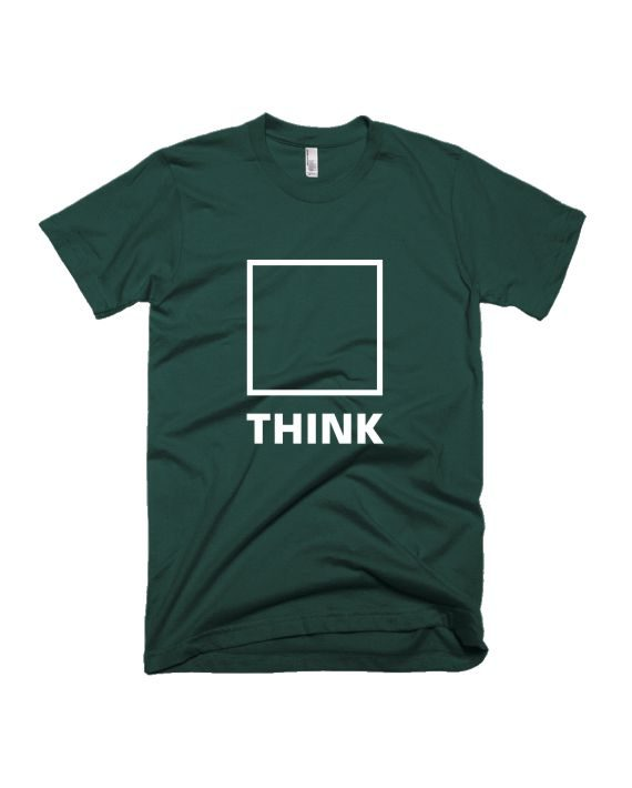 Think bottle green half sleeve graphic t-shirt for Men and Women by adimanav.com