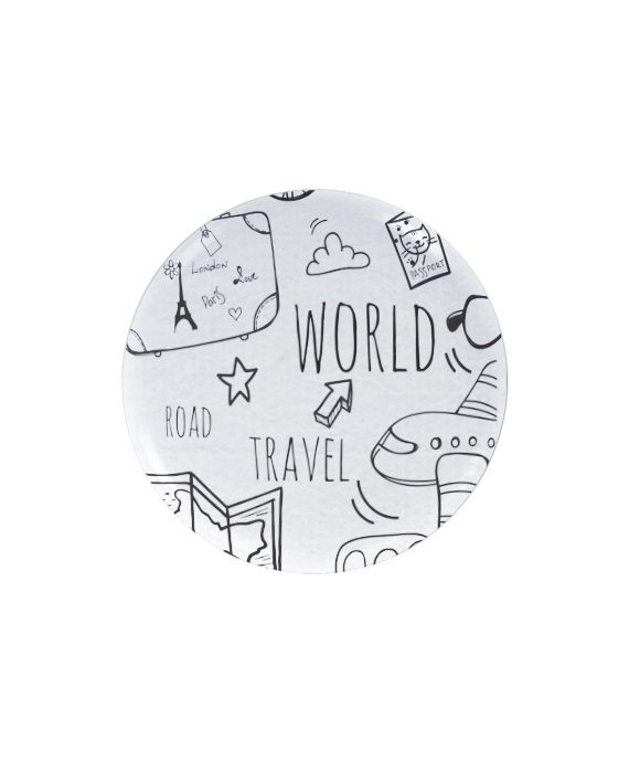 World travel pin plus magnet badge