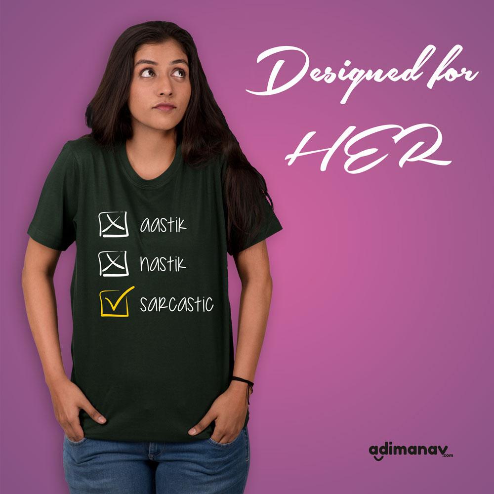 aastik nastik sarcastic graphic half sleeve t-shirt
