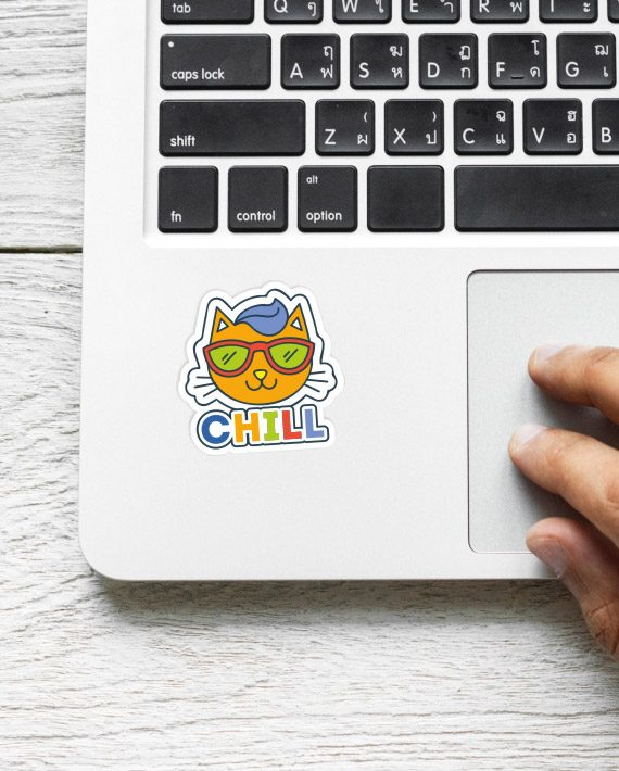 Cat Chill Laptop Computer Mobile Fridge Desk Bike Car Furniture Notebook Sticker by Adimanav.com