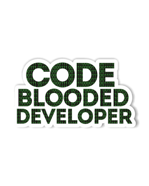 Code Blooded Developer Laptop Computer Mobile Fridge Desk Bike Car Furniture Notebook Sticker by Adimanav.com
