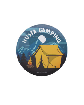 Nusta Camping pin plus magnet badge by Adimanav.com