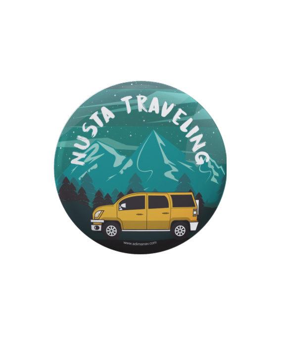 Nusta Traveling pin plus magnet badge by Adimanav.com