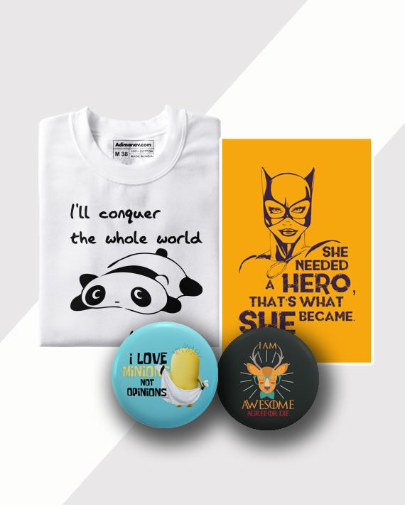 Mood Swings T-shirt Poster and Badge Combo by Adimanav.com