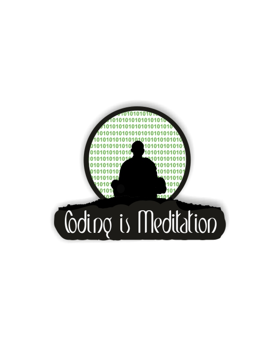 Coding Is Meditation Laptop Computer Mobile Fridge Desk Bike Car Furniture Notebook Sticker by Adimanav.com
