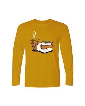 Chaha Wadapav Yellow Full Sleeve T-shirt by Adimanav.com