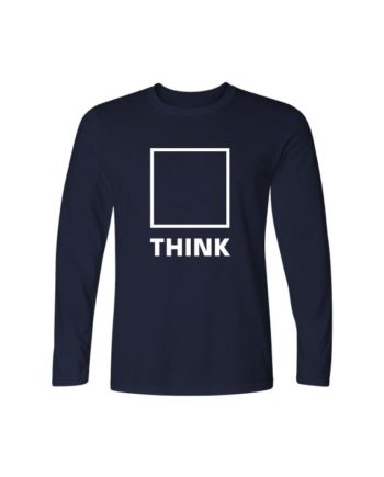 Think Navy Blue Full Sleeve T-shirt by Adimanav.com