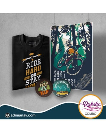 Ride Hard T-shirt Poster and Badge Combo by Adimanav.com