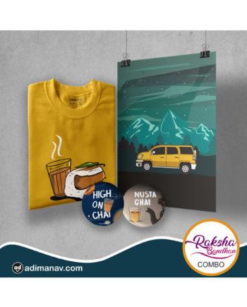 Chaha Vadapav T-shirt Poster and Badge Combo by Adimanav.com