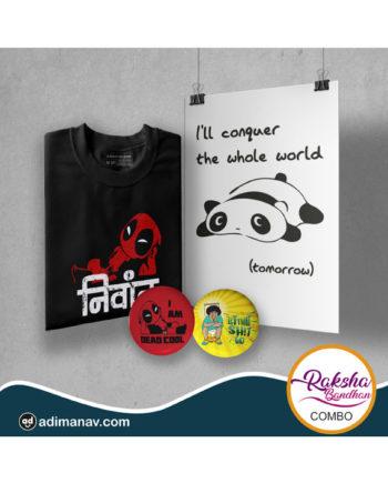 Nivant T-shirt Poster and Badge Combo by Adimanav.com